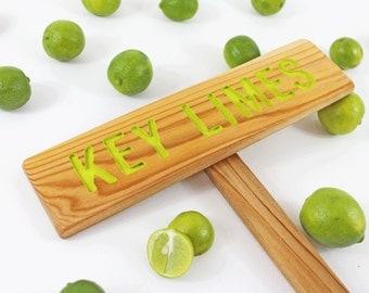 KEY LIMES Fruit Tree Marker, Lime Green Sign, Garden Sign, Cedar Wood Routed Sign, Custom Garden Sign, Personalized Garden Marker