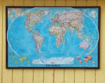 Large World Map on Wood-Wall Map-Large Wall Map