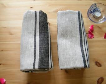 2 Natural Linen Hand / Face Towels - Black Stripes - Pure Flax Bathroom Linens