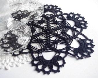 Crochet doily Black lace doily Handmade cotton crochet doilies Black doilies crochet Flower doily Black crochet doily 199