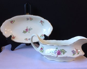 Homer Laughlin China - Priscilla - gravy Boat and Under Plate - Floral