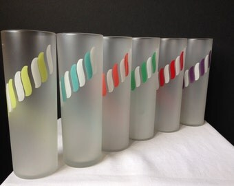 Libbey - Frosted - Candy Stripe - Tall Iced Tea Glasses - Set of Six