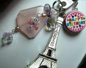 Custom for Rachel - ANNIVERSAIRE HaPPy BIRTHDAY à Paris - Eiffel Tower Keychain, Premium French Chic, Bling Druzy Gem, Pendant Necklace