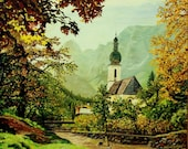 "Fine Art Giclee Print of my original Oil Painting ""Chapel in the Mountains"""