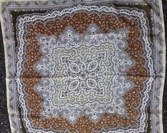 Vintage Silk Scarf Brown Paisley