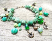 RESERVED FOR GLADYS Forest Nymph Bracelet- turquoise and aventurine gemstones leaf beads, fantasy, cosplay, elf, Hidden Treasury