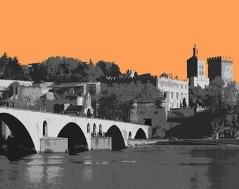 Avignon France Modern Art Orange 8x10 inch print