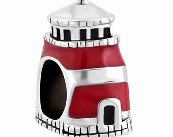 Red Enamel Lighthouse Spacer Bead For European Style Charm Bracelet