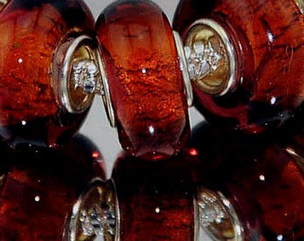Root Beer Brown Foil Lampwork Bead for  European Style Charm Bracelet -.925 Silver Core
