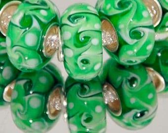 Green and White Swirl Pattern Glass Lampwork Charm Bracelet Bead -.925 Silver Core