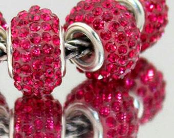 14MM Hot Pink European Style CZ Crystal Charm Bracelet Bead