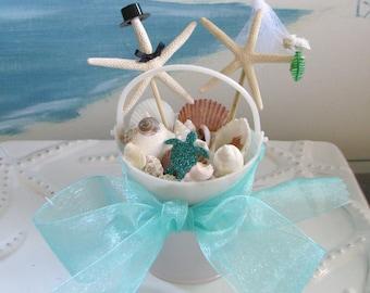 Starfish Wedding Cake Topper-Sand Bucket Seashell Beach Wedding Cake Topper