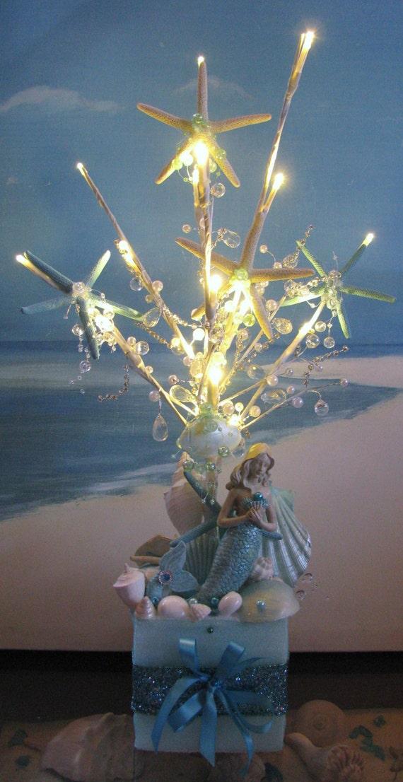 Mermaid Seashell Led Light Up Beaded Wedding Centerpiece