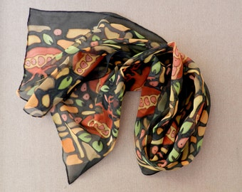 Pomegranate  silk scarf. Bright colors and black hand painted scarf.  Gift for her. Made to order