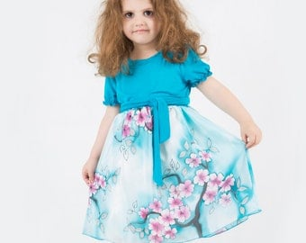 Sakura silk and cotton dress. Hand painted silk dress . Cherry Red, Turquoise blue dress. Gift for kids. Made to order!!