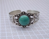 RESERVED for Ryan ~ VINTAGE/ESTATE - sterling silver .925 antiqued Navajo style cuff bracelet with turquoise cabochon
