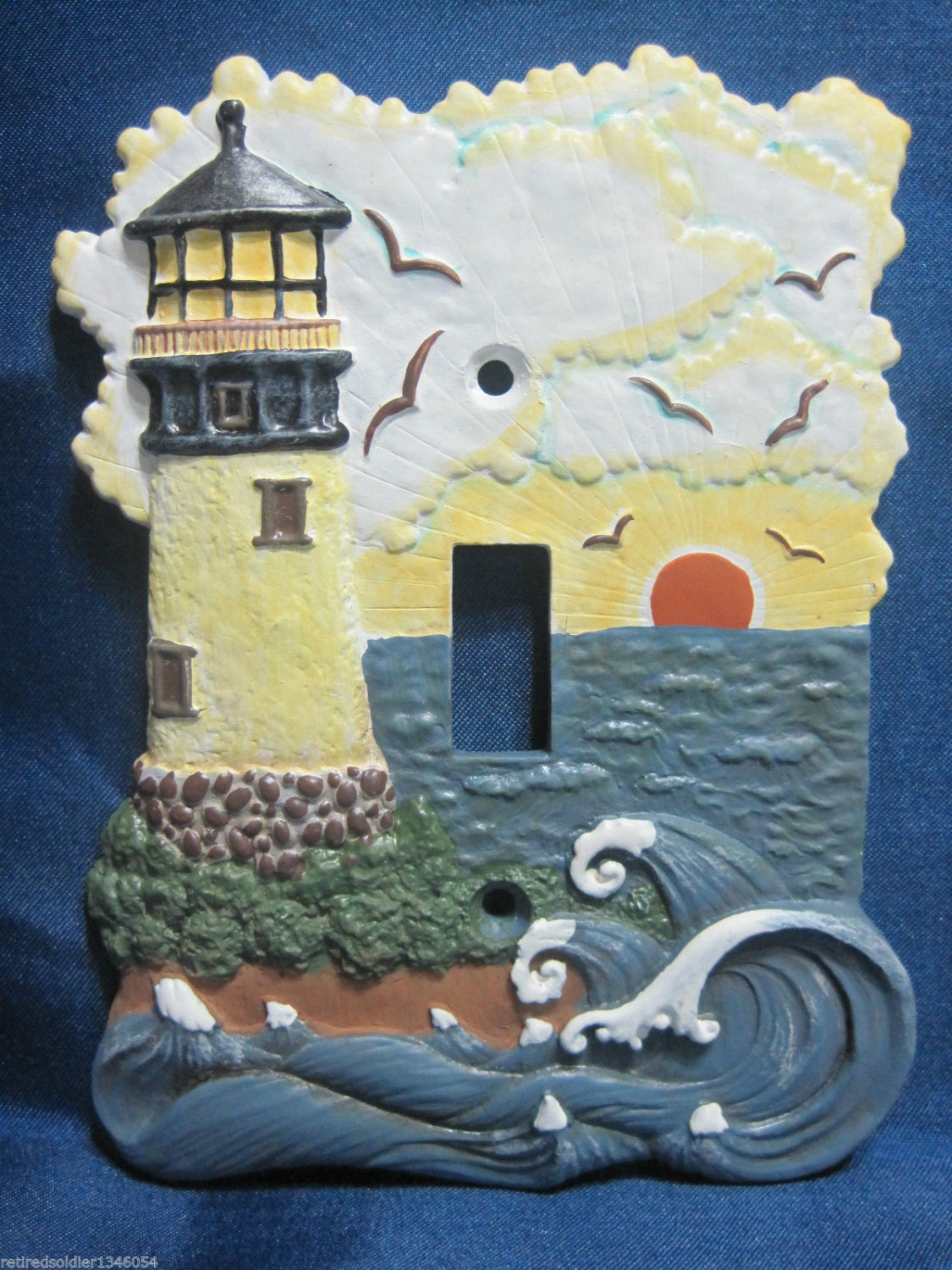 3 d surf side lighthouse seagulls light switch cover plate for Lighthouse switch plates