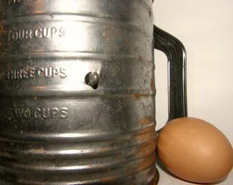 Vintage Bromwells Flour Sifter, Metal Farmhouse Rustic Primitive Kitchen Decor