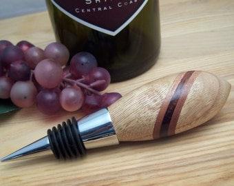 Wine Stopper Chestnut Wood & Purple Heart Wood with a Chrome Metal finish