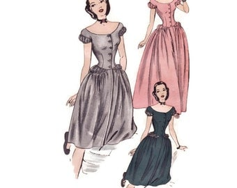 1940s Evening Gown Pattern, Hollywood 1882, Cinderella Dress, Puff Sleeves & Hip, Wedding Dress, Vintage Sewing Pattern, Bust 30 Unused