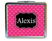 Swiss Dot Classic Tin Lunch Box | 3 color choices | Back To School | Customized | Image on Both Sides