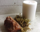 Amber and Oak Moss Scented Soy Pillar Candle Soy Pillar Candle Amber Scented White Soy Candle