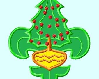 Fleur De Lis Christmas Tree Applique Embroidery Designs  INSTANT DOWNLOAD