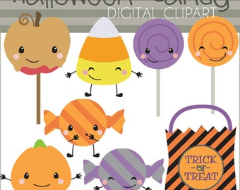 Halloween Clip Art Halloween Candy -Personal and Limited Commercial Use- candy corn, kawaii candy, trick or treat, Halloween Clipart