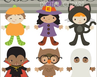 Halloween Clip Art Kids in Costume -Personal and Limited Commercial Use- Children in Halloween Costumes Digital Clipart