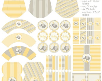 Yellow Elephant Baby Shower Printables PDF - Printable Party Supplies - Baby Elephant Shower