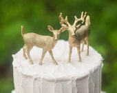 Gold Deer Wedding Cake Topper, Golden Bride & Groom, Woodland Rustic Wild Animal