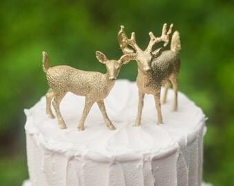 Gold Deer Wedding Cake Topper, Golden Bride & Groom, Woodland Rustic Wild Animal