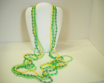 "Vintage 48"" Plastic Beaded 4-Strand Necklace (9189)"