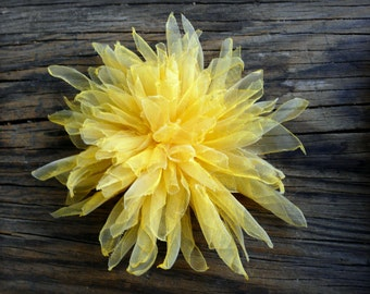 Shabby Chic Flower Clip, Yellow Hair Clip, Yellow Flower Clip, Bright Yellow Hair Accessory, Yellow Hair Flower, Yellow Dandelion