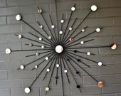 "30"" Metal Sunburst Wall Art Interior Design Sun Mirror Starburst Atomic Modern Contemporary Retro Style 30"""