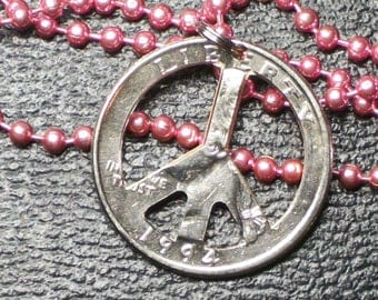 PeAce Sign Necklace Hand cut PeAcE SiGn Charm 24inch Hot Pink Ball and Chain Necklace  Free ShIpping  PeAce Is Back