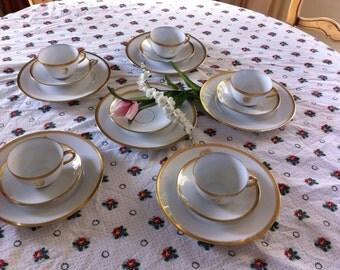 hutschenreuther bavaria gold and white bone china tea set monogrammed china set d. Black Bedroom Furniture Sets. Home Design Ideas