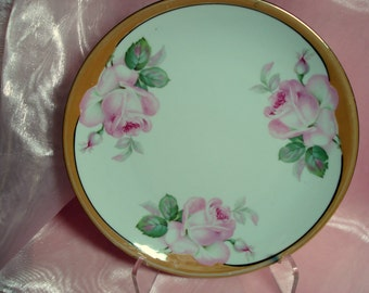 Shabby Vintage Plate Lustreware Pink Rose Plate Germany Shabby Cottage Chic Lusterware