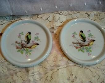 Vintage Bird Coasters White Porcelain Set of Two Tea Bag Holders Vintage Shabby Cottage Chic