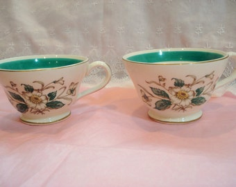 Vintage Teacups Magnolia Edwin M. Knowles Tea Cups Set of 2 Green and White Shabby Vintage Wedding