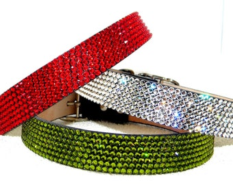 "Swarovski Crystal 12-14"" leather pet collar ""Pet Project"" brand by Glass Slippers +70 gem color choice 5/8""-3/4"" wide medium Dog / large Cat"