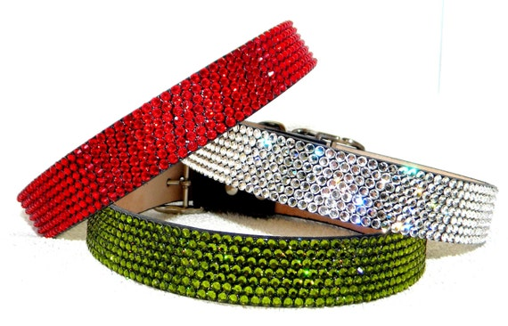 """Swarovski Crystal 12-14"""" leather pet collar """"Pet Project"""" brand by Glass Slippers +70 gem color choice 5/8""""-3/4"""" wide medium Dog / large Cat"""