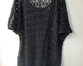 Oversize Short Sleeve Black Crochet Dress/Shirt