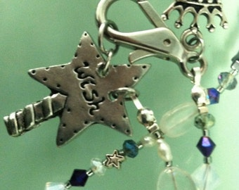 """Magic Wand Inspirational Necklace with """"Wish"""" on one side and """"Poof"""" on the other side.  All Natural stones and crystals."""