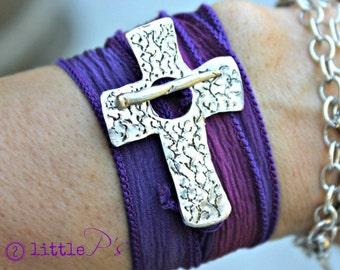 Christian Jewerly  Cross and Vines Artisan Silk Wrap Bracelet