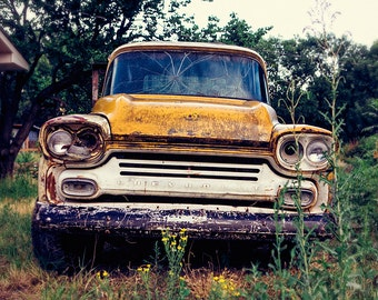 Chevy Pick up photograph, Chevrolet, rusted, abandoned, Vintage Pick Up Truck Print, yellow