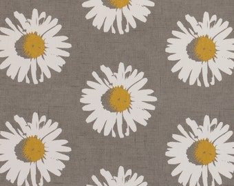 Yellow Grey Upholstery Fabric - Modern Floral Daisy Fabric - Grey Yellow Floral Drapery Fabric by the Yard - Floral Print Cotton Fabric