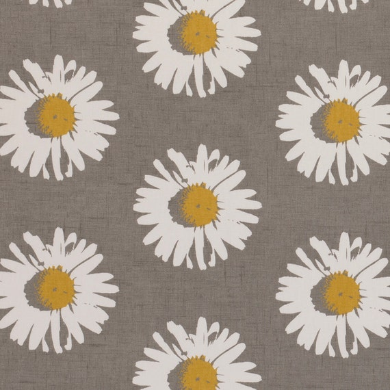 Yellow Grey Upholstery Fabric Modern Floral Daisy Fabric