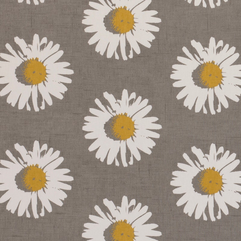 Yellow grey upholstery fabric modern floral daisy fabric for Floral upholstery fabric