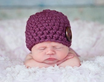 Newborn Baby Girl Hat Purple Baby Hat Newborn Baby Hat Wood Button Baby Beanie Purple Plum Baby Shower Gift Newborn Photography Prop